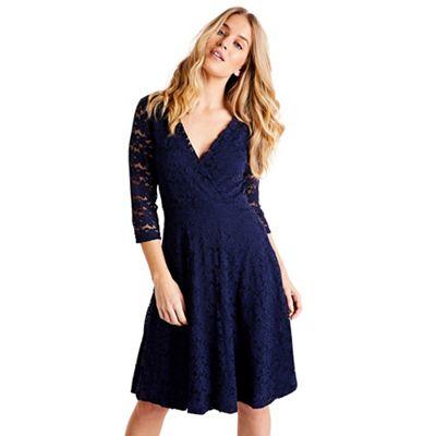 51d7e0567a Mela London - Navy floral lace knee length skater dress