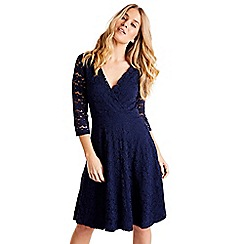 Mela London - Navy floral lace knee length skater dress