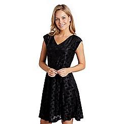 Mela London - Black burnout floral 'Demara' skater dress