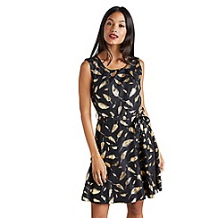 Mela London - Black golden leaf 'Dahlya' skater dress