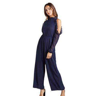 5d6f11d07bd Mela London Navy lace cold shoulder jumpsuit