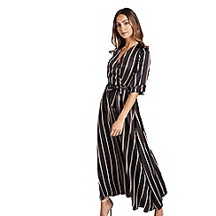 Mela London - Black striped 'Vanise' wrap maxi dress
