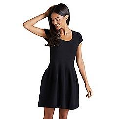 815f1e8b22 Mela London - Black ribbed  Deleta  short sleeve skater dress