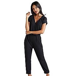 Mela London - Black metallic wrap jumpsuit