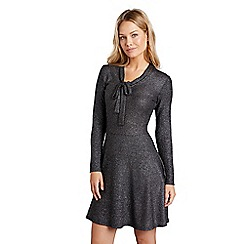 Mela London - Silver shimmer long sleeve skater dress