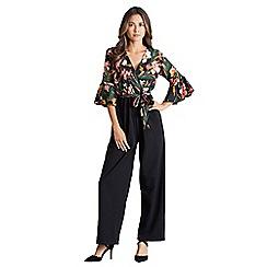 Mela London - Black floral wrap jumpsuit