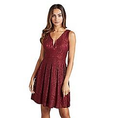 Mela London - Red plunging lace skater dress