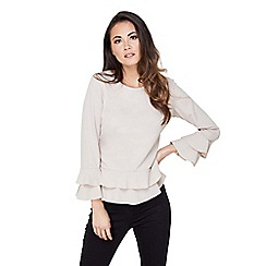 Mela London - Beige double frill flared top