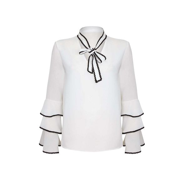 lace bow London Cream tie shirt Mela qPOwzg