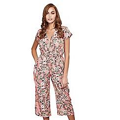 Mela London - Light pink botanical wrap jumpsuit
