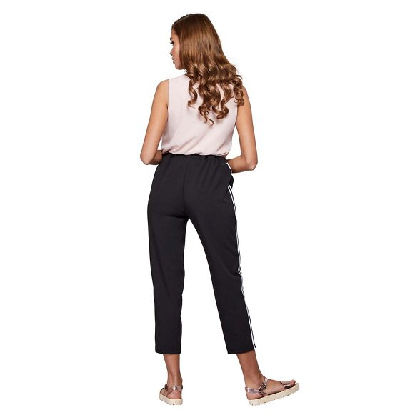 luxe trousers Mela Black stripe panel London q6qISUw8