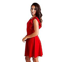 Mela London - Red side ruffle v neck dress