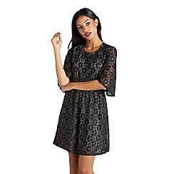 1b1946c73da Mela London - Black metallic rose lace  Divyne  skater dress