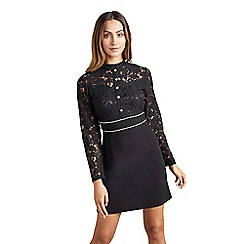 Mela London - Black floral lace 'Vanyah' tunic dress