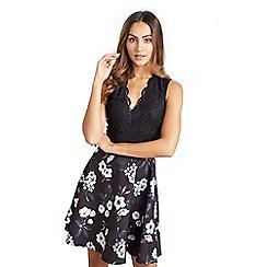 Mela London - Black floral lace 'Celest' fit and flare dress