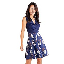 Mela London - Navy lace two tone dress