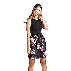 Mela London - Black floral jacquard 'Celyne' prom dress