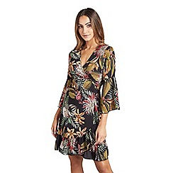 Mela London - Multicoloured botanical 'Cecili' wrap dress