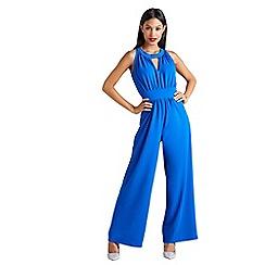 Mela London - Blue sleeveless keyhole jumpsuit