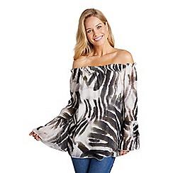 Mela London - Brown bardot zebra print top