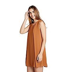 Mela London - Brown plain sheer overlay 'Cedrea' tunic dress