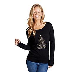 Mela London - Black embellished christmas tree knit jumper