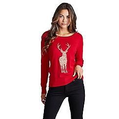 Mela London - Red embellished reindeer christmas knit jumper