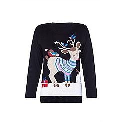 Mela London - Black snowy animal Christmas jumper