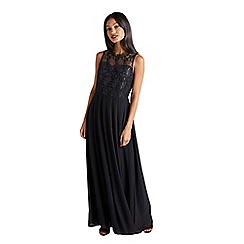 Mela London - Black floral lace 'Delysa' maxi dress