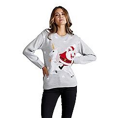 Mela London - Grey santa claus and unicorn christmas jumper