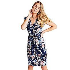 Mela London - Navy floral printed bodycon dress with belt