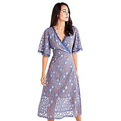 Mela London - Blue Floral Lace Print Wrap Dress