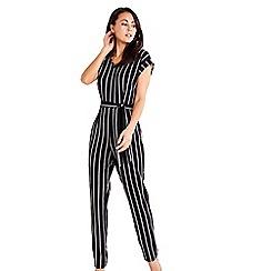 Mela London - Black stripe print tie waist jumpsuit