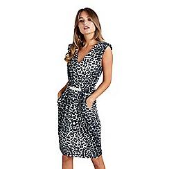 Mela London - Black snow leopard 'Elazia' pencil dress