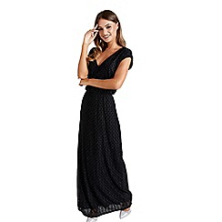 Mela London - Black metallic and polka dot 'Elayne' maxi dress