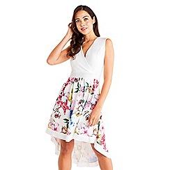 Mela London - White Floral Printed High Low Dress