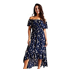 Mela London - Navy Floral Print Bardot Maxi Dress