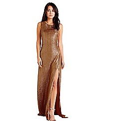Mela London - Gold Glitz Bodycon Maxi Dress