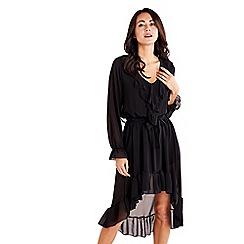 Mela London - Black ruffle front high low dress