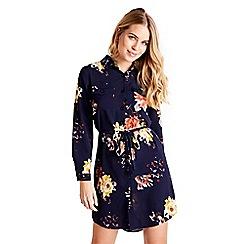 Mela London - Navy floral printed shirt dress