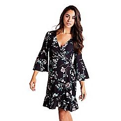 Mela London - Black floral print knee length wrap dress