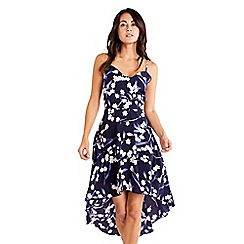 Mela London - Navy Floral Printed High Low Dress
