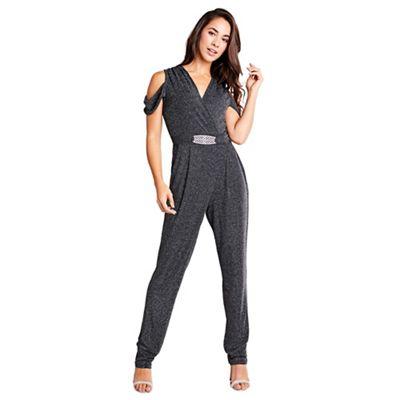 77ee3a03de2 Mela London - Black glitz cold shoulder jumpsuit