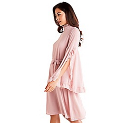 Mela London - Pink tie waist long sleeve shift dress
