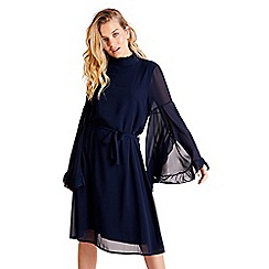 Mela London - Navy tie waist long sleeve shift dress