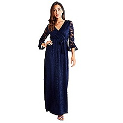 Mela London - Navy Fluted Lace Maxi Dress