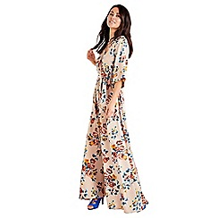 Mela London - Beige floral print kimono sleeve maxi dress