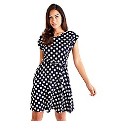 Mela London - Navy Polka Dot Skater Dress