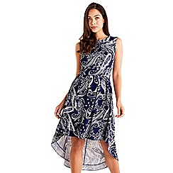 Mela London - Navy Paisley Printed Highlow Dress