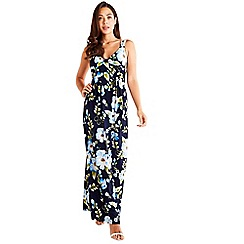 Mela London - Navy Floral Print Maxi Dress
